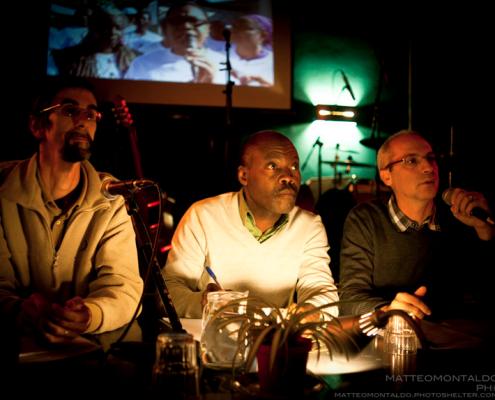 Gotson Pierre alle Officine Corsare, Torino insieme a Marco Bello e Alessandro Demarchi di Cisv